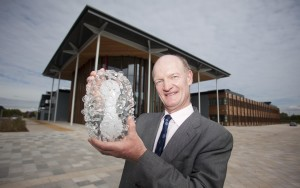David Willetts with glass sculpture of virus 'Smallpox'