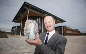 David Willetts with glass sculpture of virus 'Smallpox'