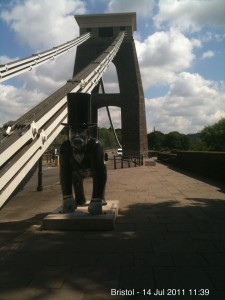 The Brunel Gorilla on Clifton Suspension Bridge in Bristol