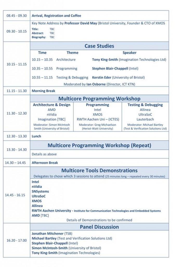 Multicore Challenge Conference 2012 Agenda