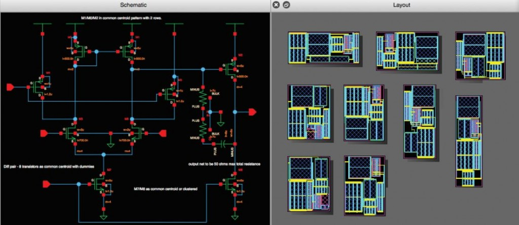 From schematic to multiple layouts in Animate - screenshots
