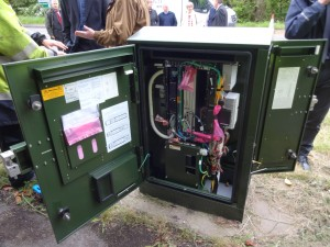 Twelve fibres are terminated in this cabinet in Claverton for broadband access